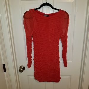Bebe Women's Small Red LS Ruched Dress NWOT